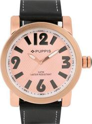 Puppis Rosegold Case And Dial Black Leather Strap PUM4108