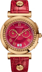 Versace Vanity Chrono Lady Red Leather Strap VA9040013