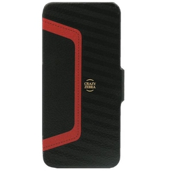 Stoneage Flip Leather Crazy Zebra Black - Red (iPhone 5/5s/SE)