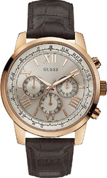 Guess Rose Gold Chrono Brown Leather Strap W0380G4