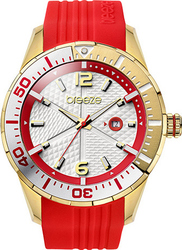Breeze Catwalk Gold Red Rubber Strap 110201.7