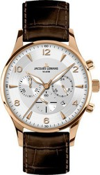 Jacques Lemans London Rose Gold Brown Leather Chronograph 1-1654H