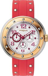 Vogue Flash Rose Gold Red Rubber Strap 17004.6