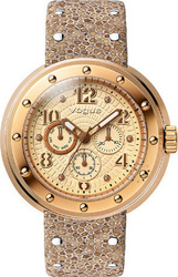 Vogue Flash Rose Gold Brown Leather Strap 17004.2