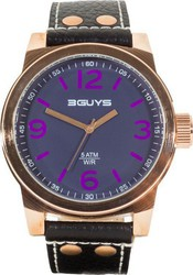 3Guys Rose Gold Black Leather Strap 3G13907