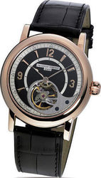 Frederique Constant Heart Beat Manufacture Automatic 18k Rose Gold Black Leather Strap FC-930ABS4H9
