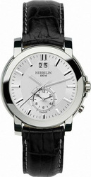 Michel Herbelin Dual Time Black Leather Strap 18480-11