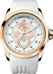 Jacques Farel Multifunction Crystals White Rubber Strap ATL4970