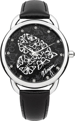 Morgan De Toi Crystals Black Leather Strap M1197B