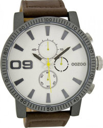 Oozoo Large Timepieces Beige Leather Strap C6651