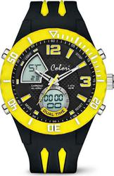 Colori Unisex Cool Fusion Anadigi Yellow Black Rubber Strap CLD039