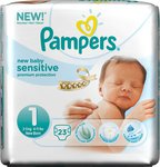 Pampers New Baby Sensitive No 1 (2-5Kg) 23τμχ