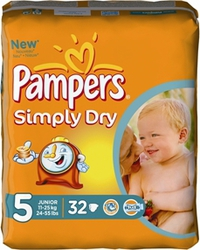 Pampers Simply Dry No 5 (11-25Kg) 32τεμ
