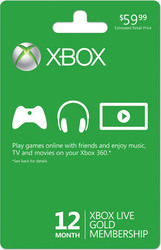 Microsoft Xbox Live Gold Membership Card 12 Month