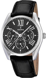 Festina Multifunction Black Leather Strap F16752/2