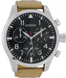 Oozoo Timepieces 51 Mm Light Brown Fabric Leather Strap C6624