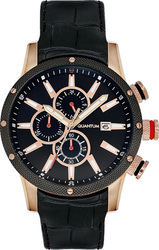 Quantum Adrenaline Adg385 Black Leather Rose Gold Chronograph ADG385.851