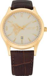U.S. Polo Assn. U.S. Gold White Dial Brown Leather Strap USP4224YG
