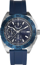 Guess Men's Multifunction Blue Rubber Strap W0486G1