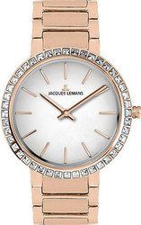 Jacques Lemans Milano Crystals Rose Gold Stainless Steel Bracelet 1-1843C