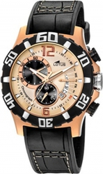 Lotus Vulcano Rose Gold Black Leather Strap Chronograph L15535-2