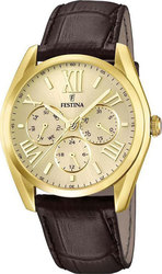 Festina Multifunction Gold Brown Leather Strap F16753/2