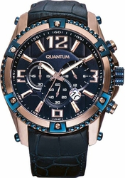 Quantum Powertech Chrono Rose Gold Blue Leather Strap PWG377.999