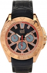 Visetti Saint Louis Multifunction Rose Gold Black Leather Strap SN-724RB