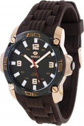 Marea Rose Gold Brown Rubber Strap B42145-4