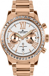 Jacques Lemans Porto Crystals Rose Gold Stainless Steel Chronograph 1-1810J