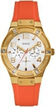 Guess Ladies Multifunction Gold Stainless Steel Rubber Strap W0564L2