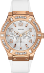 Guess Ladies Multifunction Rose Gold Stainless Steel Rubber Strap W0614L1