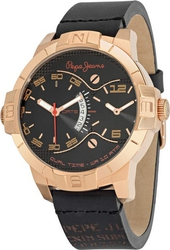Pepe Jeans Sport Dual Time Black Leather Strap R2351107001