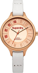 Superdry Ladies Le Skinny Rose Gold White Leather Strap SYL169W