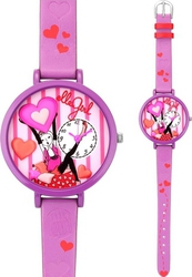 Elle Girl Stainless Steel Pink Leather Strap GW40051S02X
