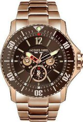 Jacques Farel Multifunction Rose Gold Stainless Steel Bracelet ATX1122