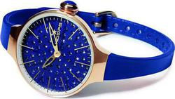 Hoops Cherie Diamond Rose Gold Case Blue Rubber strap 2483LGD14