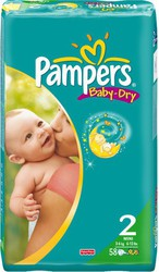 Pampers Baby Dry No 2 (3-6Kg) 58τμχ