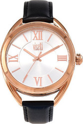 Visetti Elisabetta Rose Gold Black Leather Strap TI-725RBI