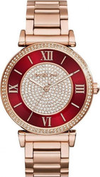 Michael Kors Caitlin Red Crystal-set Dial Rose Gold-plated Ladies MK3377