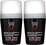 Vichy Homme Deodorant Anti-Transpirant Roll-On 72h 2x50ml