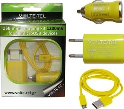 Volte-Tel micro USB Cable & Wall Adapter Κίτρινο (VTU05 & VCU09 & VCD01)