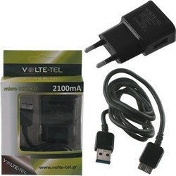 Volte-Tel micro USB 3.0 Cable & Wall Adapter Μαύρο (VCD01 & VTU21)