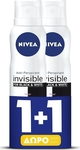 Nivea Black & White Clear Invisible Spray 48h 2x150ml