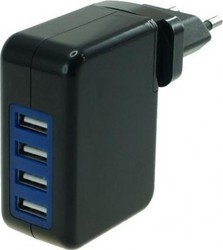 Powertech 4x USB Wall Adapter Μαύρο (PT-209)