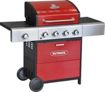 Outback Meteor Hooded 4 Burner Gas BBQ Grill In Red