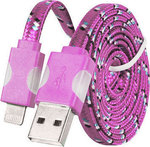 Tel1 Braided Flat USB to Lightning Cable Ροζ 1m (5900217147473)
