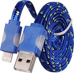 Tel1 Braided Flat USB to Lightning Cable Μπλε 1m (5900217169604)