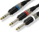 EDC Cable 2x 6.3mm male - 6.3mm Stereo male 1.5m (2-0390/1.5M)