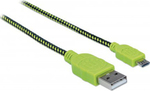 Manhattan Braided USB 2.0 to micro USB Cable Πράσινο 1m (352772)